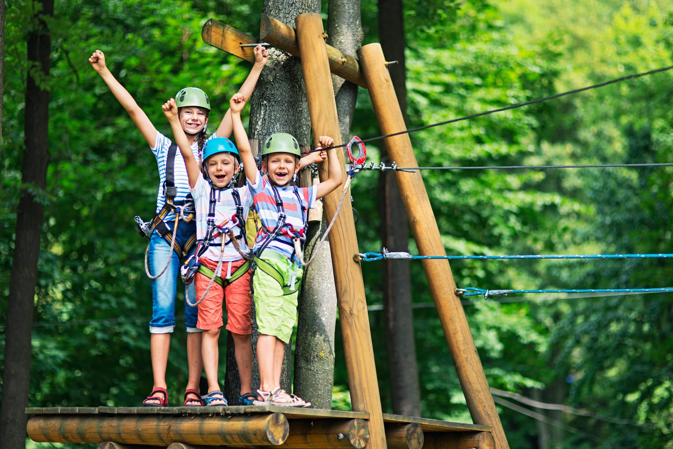 Kids doing tree clim activity