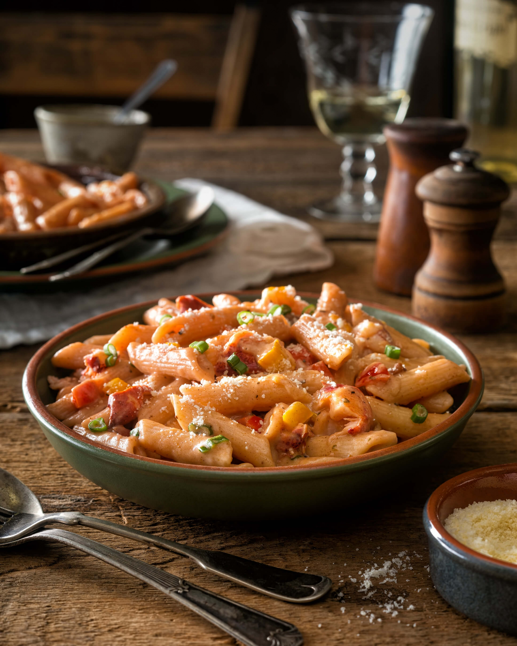 A pasta dish on wooden table
