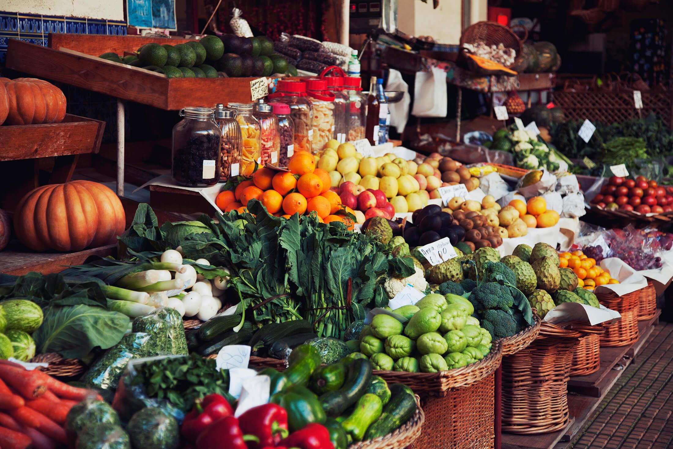 Fresh veggies at a market